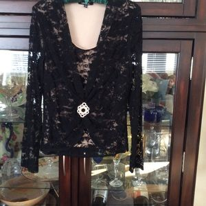 Tops - Black Lace Formal Top